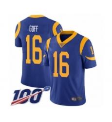 Men's Los Angeles Rams #16 Jared Goff Royal Blue Alternate Vapor Untouchable Limited Player 100th Season Football Jersey