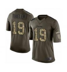 Youth Minnesota Vikings #19 Adam Thielen Limited Green Salute to Service Football Jersey