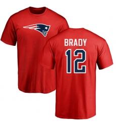 NFL Nike New England Patriots #12 Tom Brady Red Name & Number Logo T-Shirt