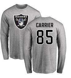 NFL Nike Oakland Raiders #85 Derek Carrier Ash Name & Number Logo Long Sleeve T-Shirt
