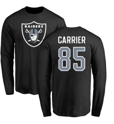 NFL Nike Oakland Raiders #85 Derek Carrier Black Name & Number Logo Long Sleeve T-Shirt