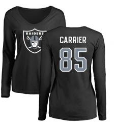 NFL Women's Nike Oakland Raiders #85 Derek Carrier Black Name & Number Logo Long Sleeve T-Shirt