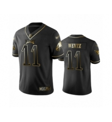Men's Philadelphia Eagles #11 Carson Wentz Limited Black Golden Edition Football Jersey