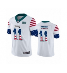 Men's Philadelphia Eagles #11 Carson Wentz White Independence Day Limited Player Football Jersey