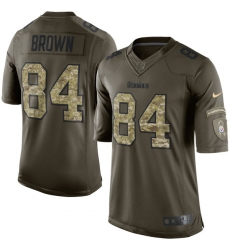Men's Nike Pittsburgh Steelers #84 Antonio Brown Elite Green Salute to Service NFL Jersey