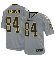 Men's Nike Pittsburgh Steelers #84 Antonio Brown Elite Lights Out Grey NFL Jersey