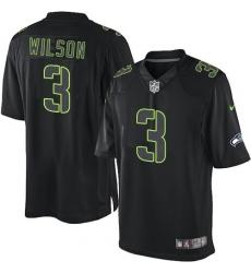 Men's Nike Seattle Seahawks #3 Russell Wilson Limited Black Impact NFL Jersey