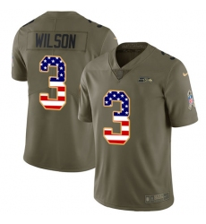Men's Nike Seattle Seahawks #3 Russell Wilson Limited Olive/USA Flag 2017 Salute to Service NFL Jersey