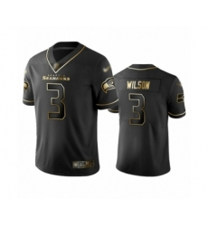 Men's Seattle Seahawks #3 Russell Wilson Limited Black Golden Edition Football Jersey