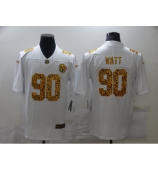 Men's Pittsburgh Steelers #90 T. J. Watt White Nike Leopard Print Limited Jersey