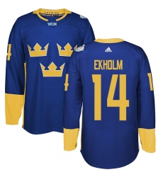 Men's Adidas Team Sweden #14 Mattias Ekholm Authentic Royal Blue Away 2016 World Cup of Hockey Jersey