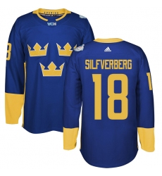 Men's Adidas Team Sweden #18 Jakob Silfverberg Premier Royal Blue Away 2016 World Cup of Hockey Jersey