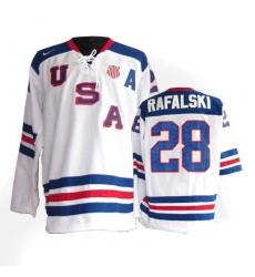 Men's Nike Team USA #28 Brian Rafalski Premier White 1960 Throwback Olympic Hockey Jersey