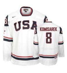 Men's Nike Team USA #8 Mike Komisarek Authentic White 2010 Olympic Hockey Jersey