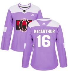 Women's Adidas Ottawa Senators #16 Clarke MacArthur Authentic Purple Fights Cancer Practice NHL Jersey