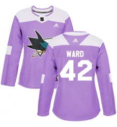 Women's Adidas San Jose Sharks #42 Joel Ward Authentic Purple Fights Cancer Practice NHL Jersey