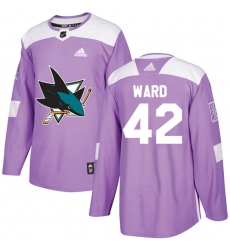 Youth Adidas San Jose Sharks #42 Joel Ward Authentic Purple Fights Cancer Practice NHL Jersey