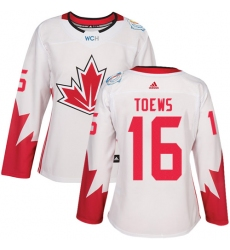 Women's Adidas Team Canada #16 Jonathan Toews Premier White Home 2016 World Cup Hockey Jersey