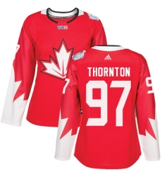 Women's Adidas Team Canada #97 Joe Thornton Authentic Red Away 2016 World Cup Hockey Jersey