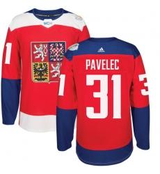 Men's Adidas Team Czech Republic #31 Ondrej Pavelec Authentic Red Away 2016 World Cup of Hockey Jersey