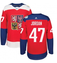 Men's Adidas Team Czech Republic #47 Michal Jordan Premier Red Away 2016 World Cup of Hockey Jersey