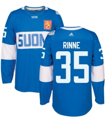 Men's Adidas Team Finland #35 Pekka Rinne Authentic Blue Away 2016 World Cup of Hockey Jersey
