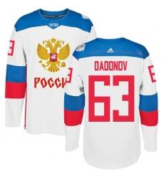 Men's Adidas Team Russia #63 Evgenii Dadonov Premier White Home 2016 World Cup of Hockey Jersey
