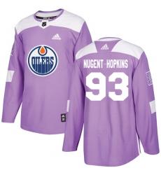 Men's Adidas Edmonton Oilers #93 Ryan Nugent-Hopkins Authentic Purple Fights Cancer Practice NHL Jersey