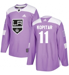 Youth Adidas Los Angeles Kings #11 Anze Kopitar Authentic Purple Fights Cancer Practice NHL Jersey