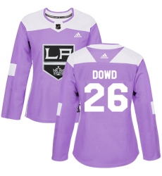 Women's Adidas Los Angeles Kings #26 Nic Dowd Authentic Purple Fights Cancer Practice NHL Jersey