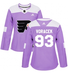 Women's Adidas Philadelphia Flyers #93 Jakub Voracek Authentic Purple Fights Cancer Practice NHL Jersey