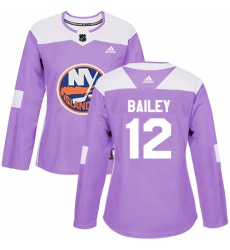 Women's Adidas New York Islanders #12 Josh Bailey Authentic Purple Fights Cancer Practice NHL Jersey