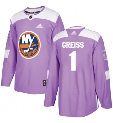 Men's Adidas New York Islanders #1 Thomas Greiss Authentic Purple Fights Cancer Practice NHL Jersey