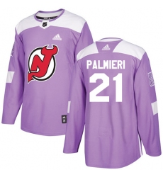 Men's Adidas New Jersey Devils #21 Kyle Palmieri Authentic Purple Fights Cancer Practice NHL Jersey