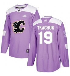 Men's Adidas Calgary Flames #19 Matthew Tkachuk Authentic Purple Fights Cancer Practice NHL Jersey