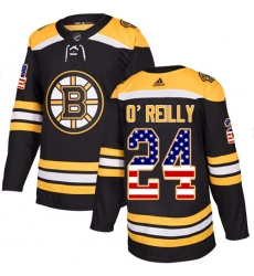 Men's Adidas Boston Bruins #24 Terry O'Reilly Authentic Black USA Flag Fashion NHL Jersey