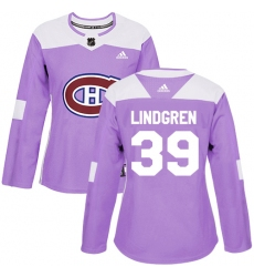 Women's Adidas Montreal Canadiens #39 Charlie Lindgren Authentic Purple Fights Cancer Practice NHL Jersey
