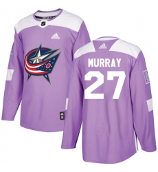 Men's Adidas Columbus Blue Jackets #27 Ryan Murray Authentic Purple Fights Cancer Practice NHL Jersey