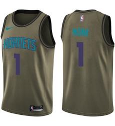 Men's Nike Charlotte Hornets #1 Malik Monk Swingman Green Salute to Service NBA Jersey