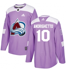 Men's Adidas Colorado Avalanche #10 Sven Andrighetto Authentic Purple Fights Cancer Practice NHL Jersey