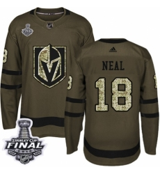 Men's Adidas Vegas Golden Knights #18 James Neal Authentic Green Salute to Service 2018 Stanley Cup Final NHL Jersey