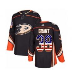 Men's Anaheim Ducks #38 Derek Grant Authentic Black USA Flag Fashion Hockey Jersey