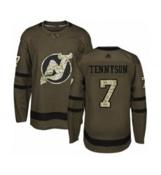 Men's New Jersey Devils #7 Matt Tennyson Authentic Green Salute to Service Hockey Jersey
