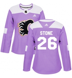 Women's Reebok Calgary Flames #26 Michael Stone Authentic Purple Fights Cancer Practice NHL Jersey