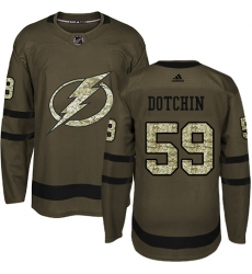 Men's Adidas Tampa Bay Lightning #59 Jake Dotchin Authentic Green Salute to Service NHL Jersey