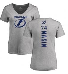 NHL Women's Adidas Tampa Bay Lightning #74 Dominik Masin Ash Backer T-Shirt