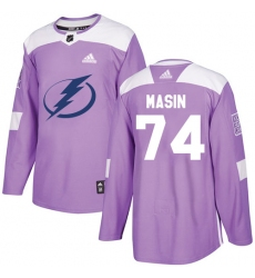 Youth Adidas Tampa Bay Lightning #74 Dominik Masin Authentic Purple Fights Cancer Practice NHL Jersey