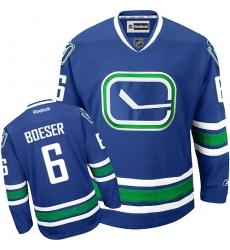 Men's Reebok Vancouver Canucks #6 Brock Boeser Premier Royal Blue Third NHL Jersey