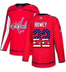 Men's Adidas Washington Capitals #22 Madison Bowey Authentic Red USA Flag Fashion NHL Jersey