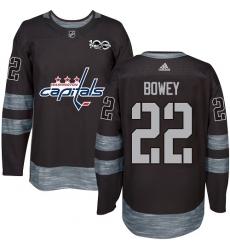 Men's Adidas Washington Capitals #22 Madison Bowey Premier Black 1917-2017 100th Anniversary NHL Jersey